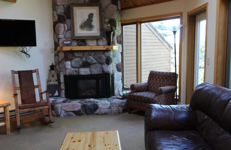 Guest living room at Superior Shores Resort.