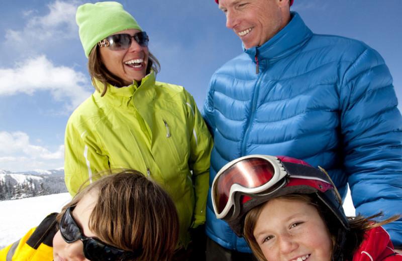 Family skiing at Riverbank Motel & Cabins.