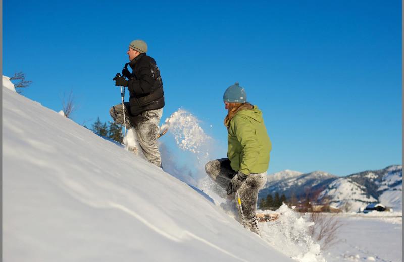 Snowshoeing at Sun Mountain Lodge.