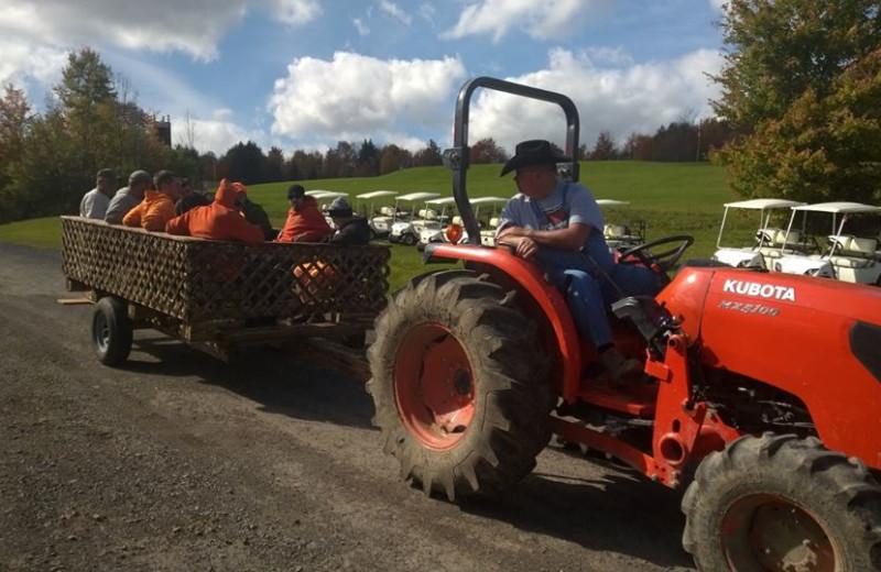 Tractor ride at The Woods At Bear Creek Glamping Resort.