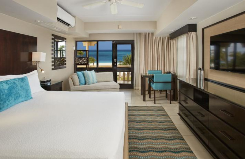Guest room at Bucuti Beach Resort Aruba.