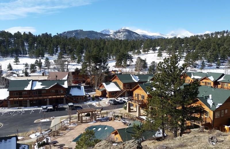 Winter exterior at Fall River Village Resort.