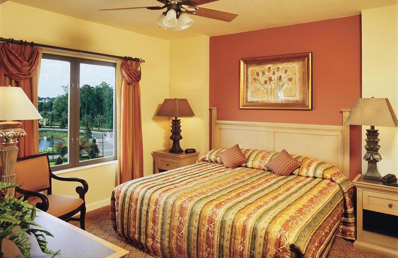 Guest room at Wyndham Bonnet Creek Resort.