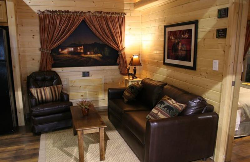 Cabin living room at Indiana Beach Amusement Resort.