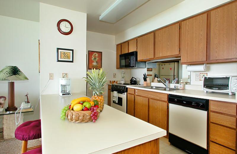 Vacation rental kitchen at Wailua Bay View Condos.
