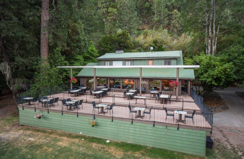 Patio at Morrison's Rogue River Lodge.