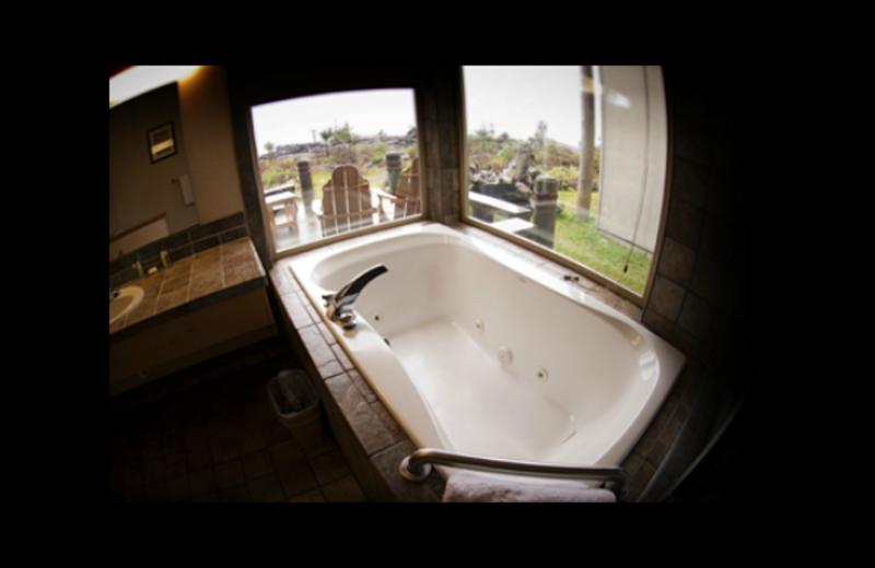 Cabin bathroom at Quileute Oceanside Resort.