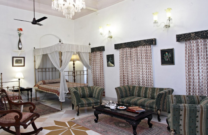 Guest suite at Laxmi Vilas Palace.