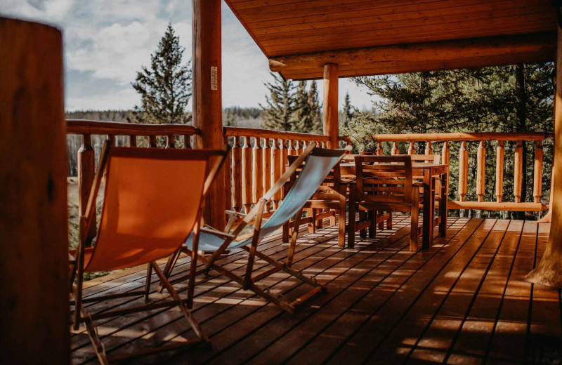 Guest balcony at Big Creek Lodge.