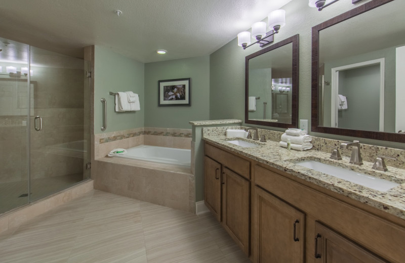 Guest bathroom at Holiday Inn Club Vacations at Orange Lake Resort.