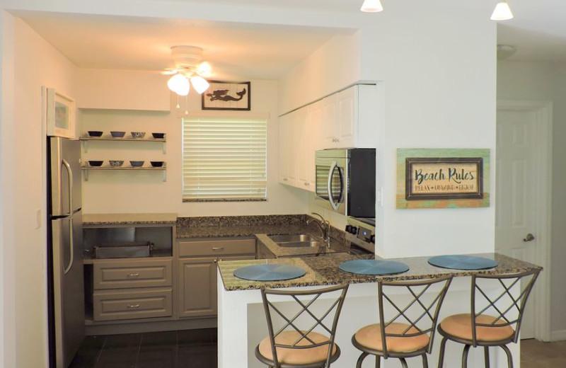 Rental kitchen at ValGal Vacation Rentals.