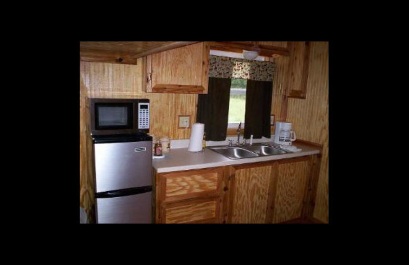 Cabin kitchen at C-bar-J Cabins.