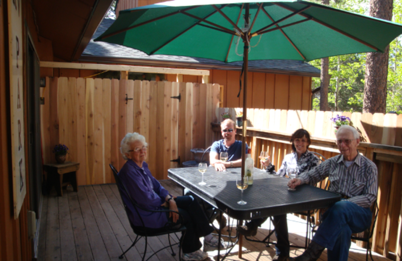 Family on patio at Bristlecone Lodge.