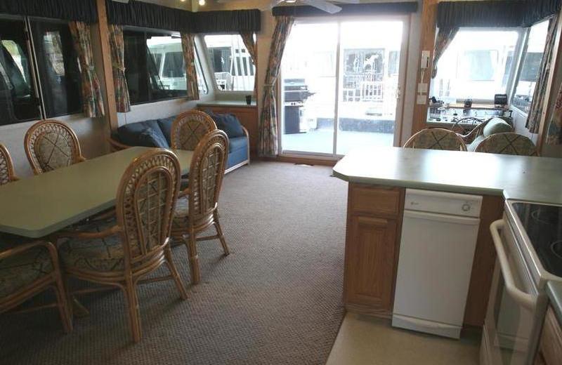 Houseboat interior at Trinity Lake.