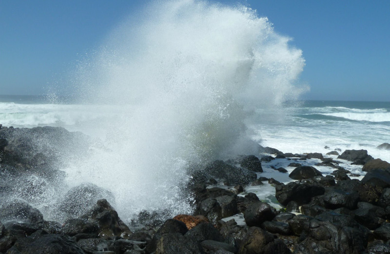 Waves crashing at Adobe Resort.