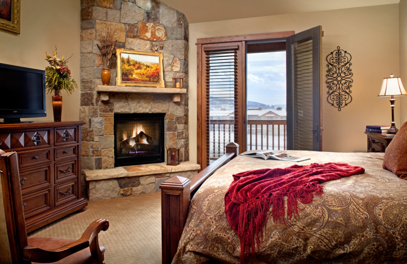 Rental bedroom at The Porches of Steamboat.