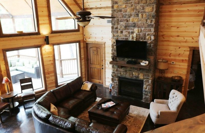 Rental living room at Broken Bow Cabin Lodging.
