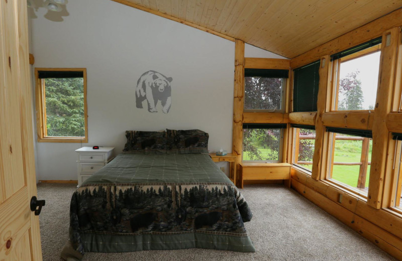 Cabin bedroom at Bear Paw Adventure.
