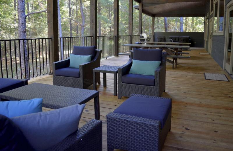Rental porch at White Glove Luxury Cabins.