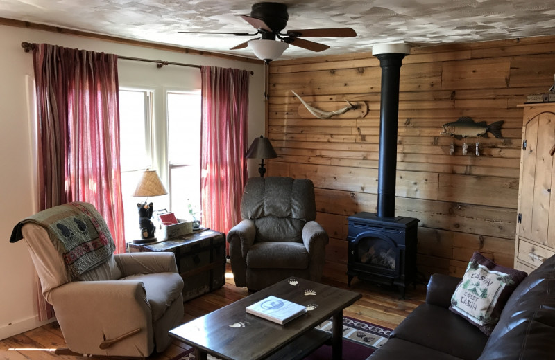 Living room at Whispering Pines Guest Cabin.