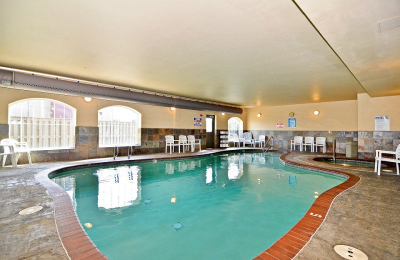 Indoor pool at Rivertide Suites Hotel.