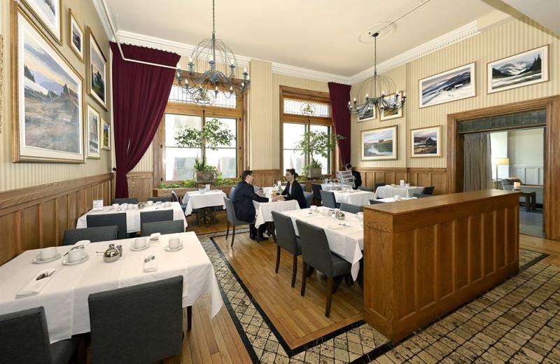 Dining at Auberge Saint-Pierre.