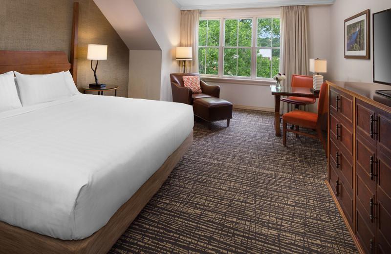Guest bed at Hyatt Regency Lost Pines Resort and Spa.