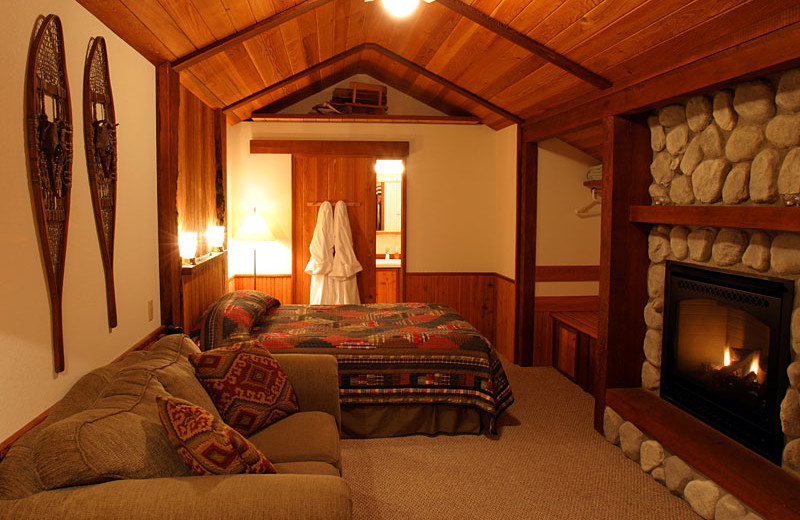 Cabin bedroom at Almost Paradise Lodging.