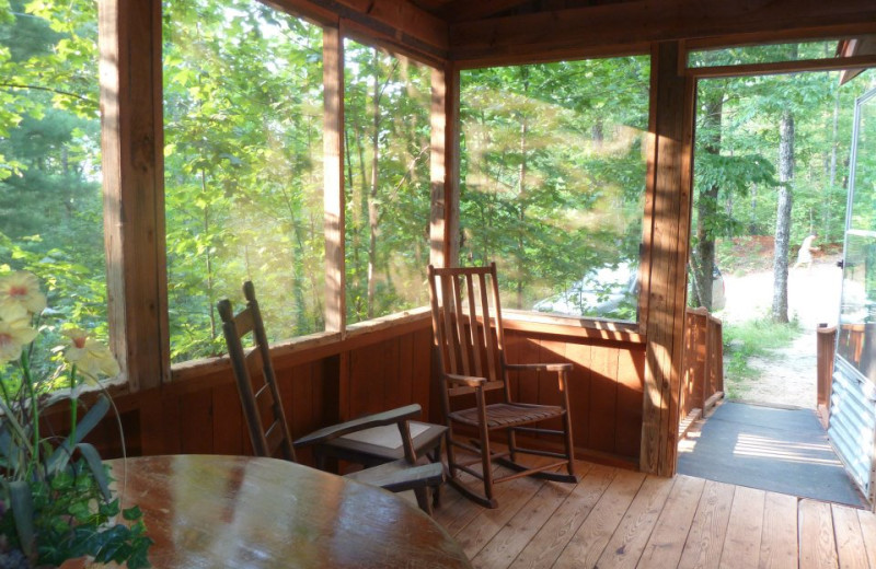Cabin porch at Mountain Rest Cabins and Campground.