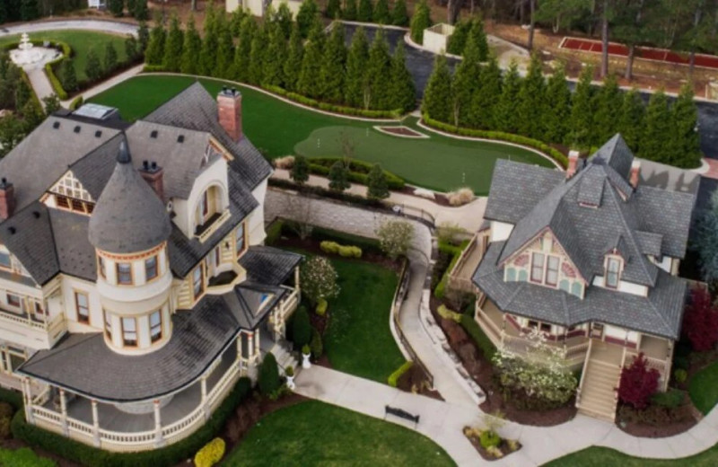 Aerial view of Queen Anne Mansion and Resort.