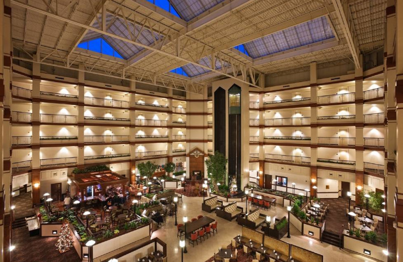 Lobby view at Hilton Suites Auburn Hills.