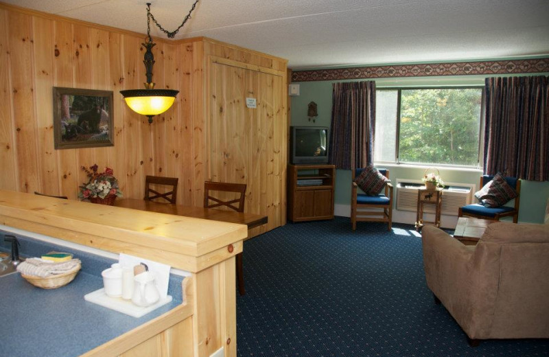 Guest room interior at Waterville Valley Resort.