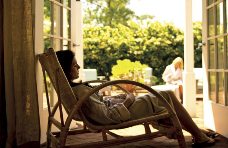Porch at Inn at Perry Cabin.