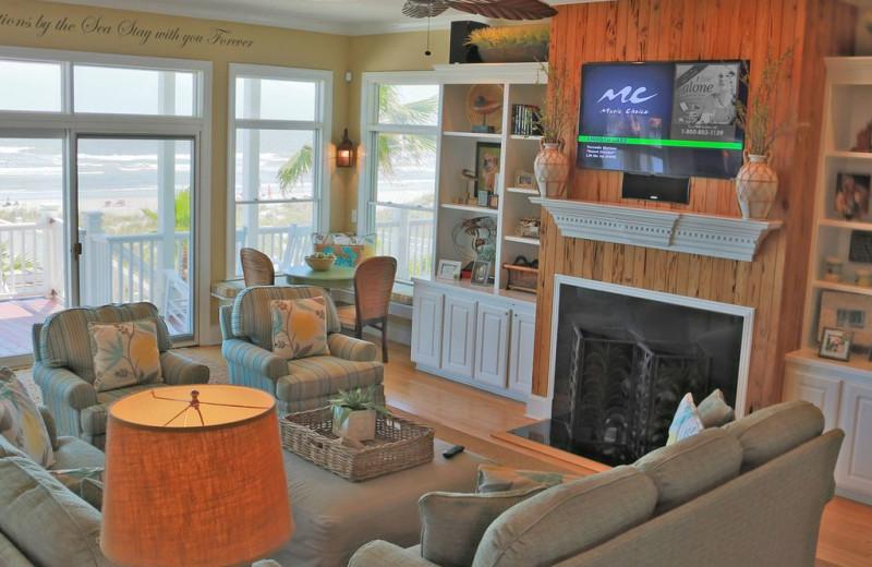 Rental living room at East Islands Rentals.