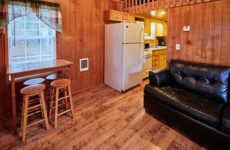 Cabin interior at Lone Star Jellystone.