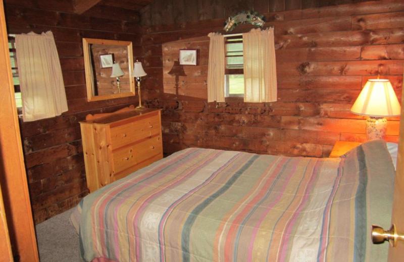 Cabin bedroom at Cold Spring Lodge.