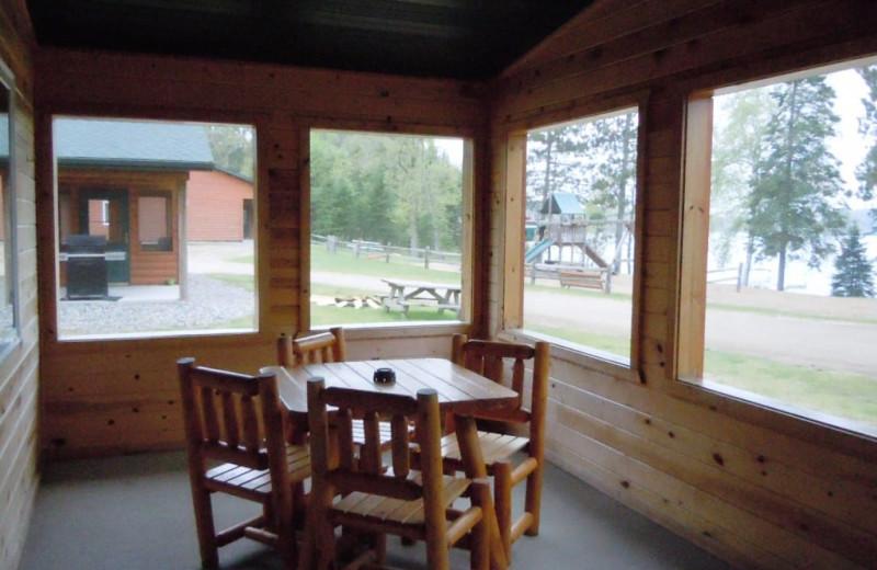 Cabin porch at Lakewood Lodge.