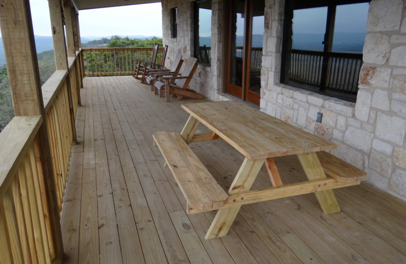 Rental deck at Frio River Vacation Rentals.