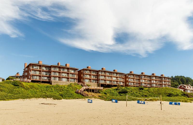View of beach at Hallmark Resort in Cannon Beach.
