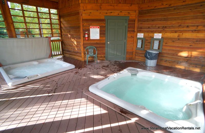 Rental hot tubs at Steamboat Vacation Rentals.