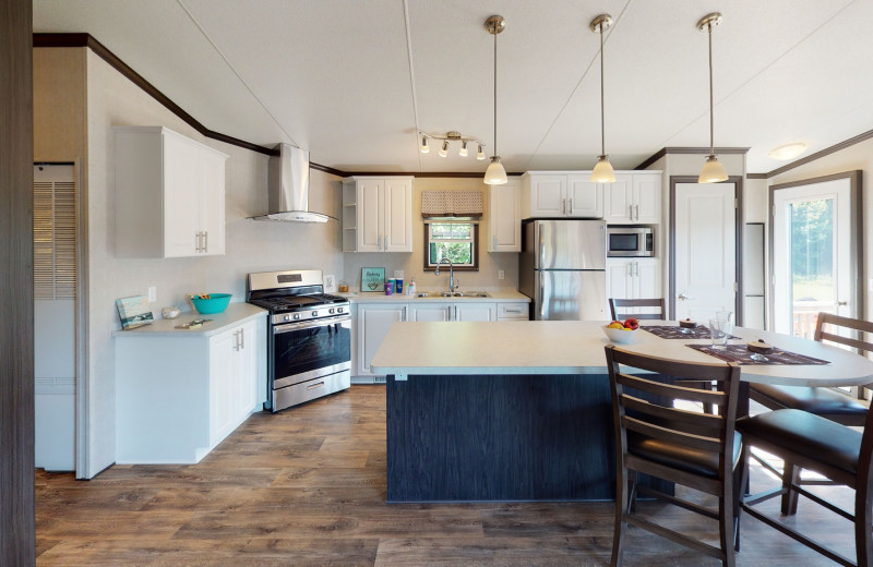 Cottage kitchen atGreat Blue Resorts- Shamrock Bay Resort.