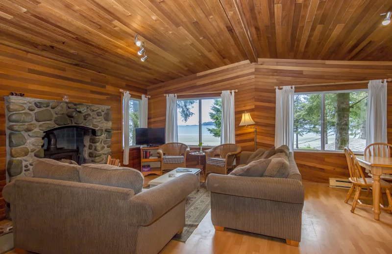 Cabin living room at MacKenzie Beach Resort.