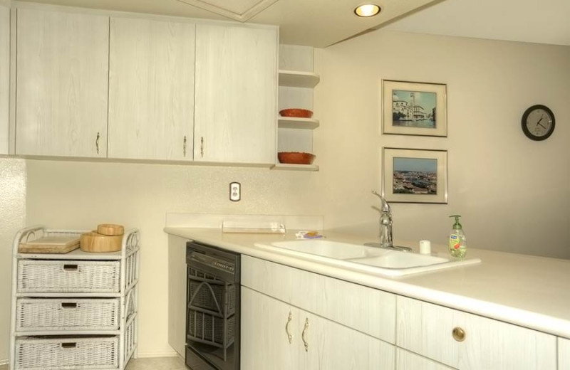 Rental kitchen at Vacation Rentals by McLain Properties.