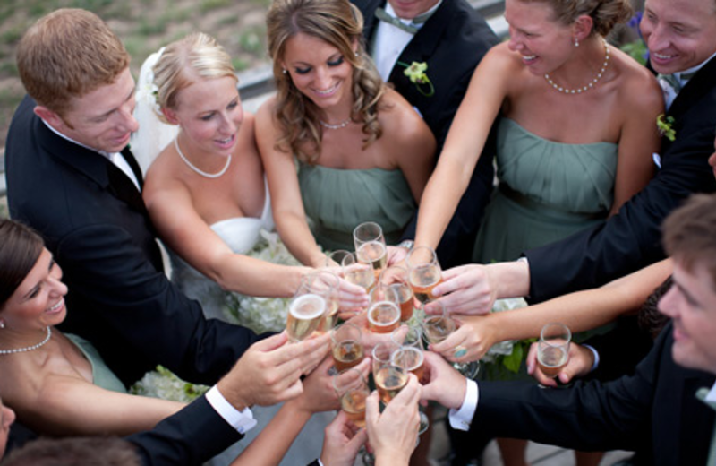 Wedding party at Crystal Mountain Resort and Spa.