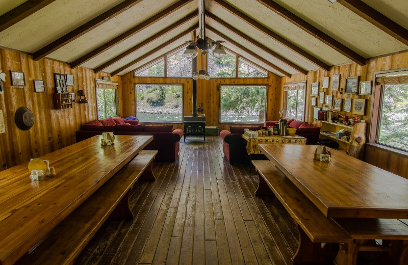 Lodge interior at Salmon River Tours.