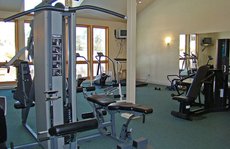 Fitness room at Cascade Village Condominiums.