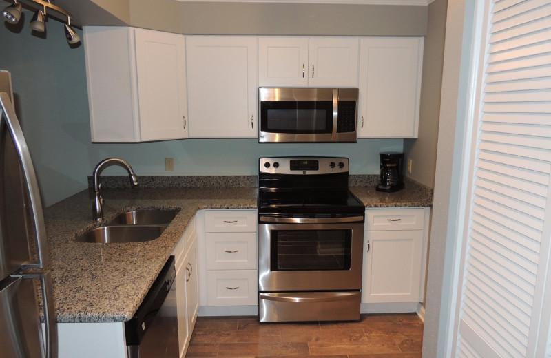Rental kitchen at The Islander in Destin.
