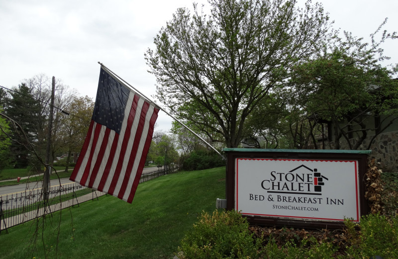 Welcome sign at Stone Chalet Bed and Breakfast Inn and Event Center.