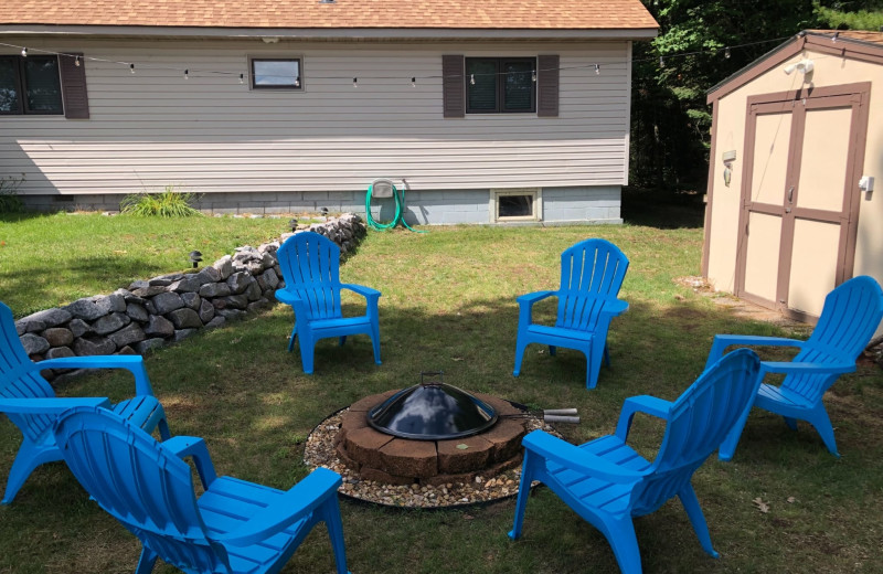 Cabin fire pit at Pitlik's Sand Beach Resort.