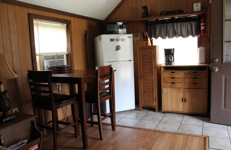 Cabin kitchen at Berry Creek Cabins.